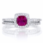 Anita's .5 ct Cushion Cut Simulated Ruby Wedding Ring Set