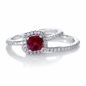 Anita's .5 ct Cushion Cut Red CZ Wedding Ring Set