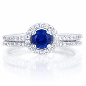 Anjala's .25 ct Round Cut Simulated Sapphire Wedding Ring Set