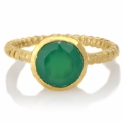 Suri's Bezel Set Green Stone Twisted Goldtone Ring