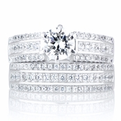 Sylvia's Triple Row Cubic Zirconia Wedding Ring Set