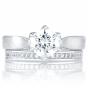 Symona's 1.25ct Round Cut CZ Engagement Ring Set - Sterling Silver