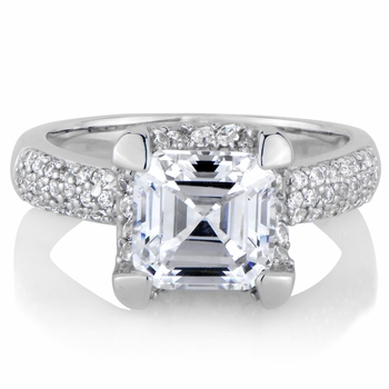 Talitha's Imitation Engagement Ring: Asscher Cut CZ
