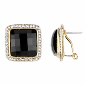 Tami's Goldtone and Black Square Stud Earrings