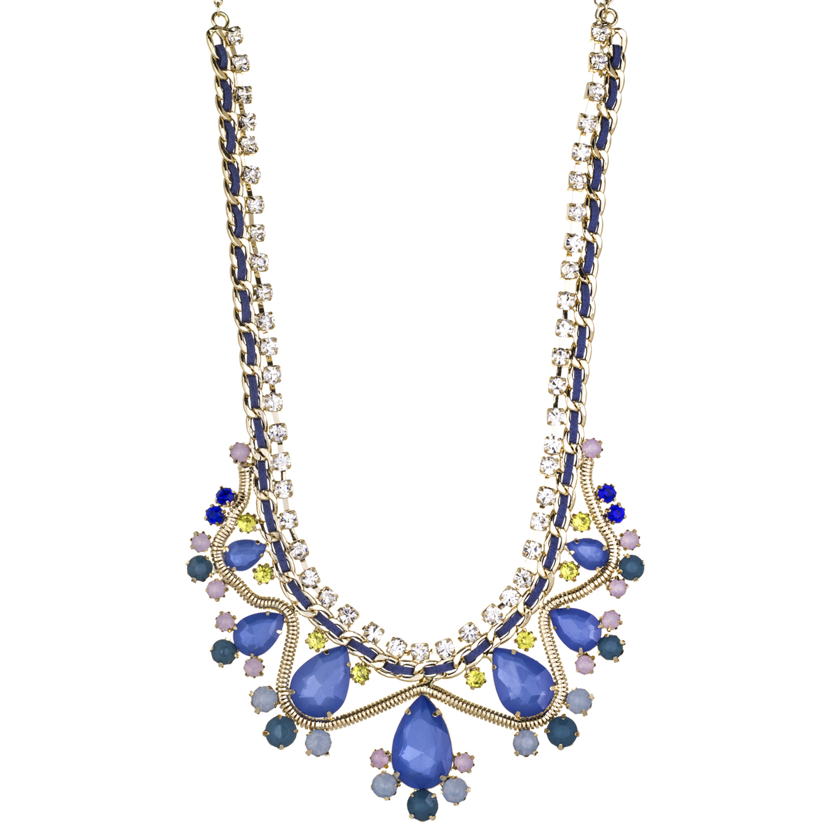 tanice s blue multicolor statement bib necklace