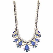 Tanice's Blue Multicolor Crystal Statement Bib Necklace