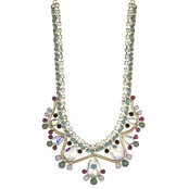 Tanice's Teal Multicolor Crystal Statement Bib Necklace
