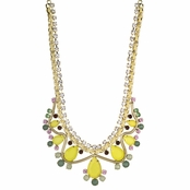 Tanice's Yellow Multicolor Crystal Statement Bib Necklace