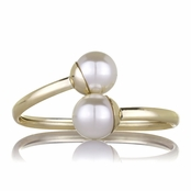 Tasi's Gold and Simulated Pearl Bangle Bracelet