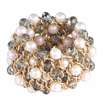 Camarin's Faux Pink Pearl and Beaded Cluster Stretch Bracelet