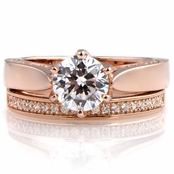 Tatiana's 1.25ct Rose Goldtone CZ Wedding Ring Set