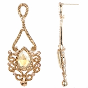 Tatiana's Fancy Rhinestone Tear Drop Earrings - Champagne