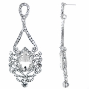 Tatiana's Fancy Rhinestone Tear Drop Earrings - Silvertone