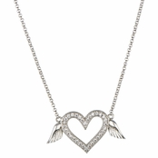 Tatiana's Pave Silvertone Winged Heart Necklace