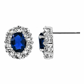 Tawana's Oval CZ Stud Earrings - Blue CZ