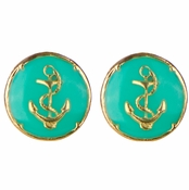 Taya's Round Turquoise Anchor Stud Earrings