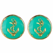 Taya's Round Turquoise Resin and Goldtone Anchor Stud Earrings