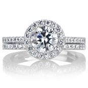 Tereza's 1ct Round Cut CZ with Halo Wedding Ring Set