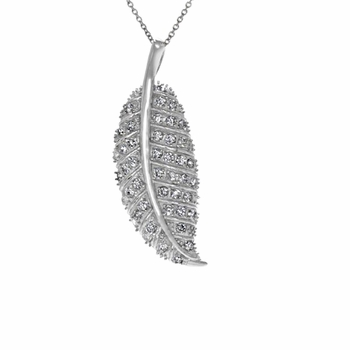 The Break-Up Silvertone CZ Leaf Necklace