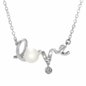 "The ""Love"" Necklace with CZ and Freshwater Pearl"