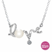 "The ""Love"" Necklace with CZ and Imitation Pearl"