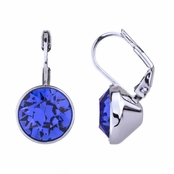 Thera's 9mm Round Cut Swarovski Crystal Leverback Earrings - Blue