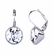 Thera's 9mm Round Cut Swarovski Crystal Leverback Earrings