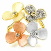Tisha's Flower Cluster Ring- Tri-Color