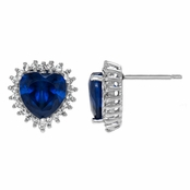 Jewelry Comparable to Titanic: Heart of the Ocean Simulated Sapphire  CZ Stud Earrings
