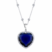 Titanic Necklace - Blue CZ Ocean Heart Necklace