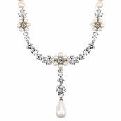 Tolla's Bridal Imitation Pearl And CZ Dangle Necklace - 16 in