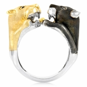Traci's Wildcat Cocktail Ring - Black & Gold Tone