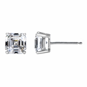 Trilby's 3TCW Asscher Style CZ Stud Earrings