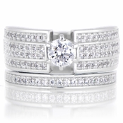 Milan's .5 ct Round Cut CZ Triple Row Wedding Ring Set