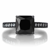 Trista's 4ct Princess Cut CZ Black Rhodium Plated Engagement Ring