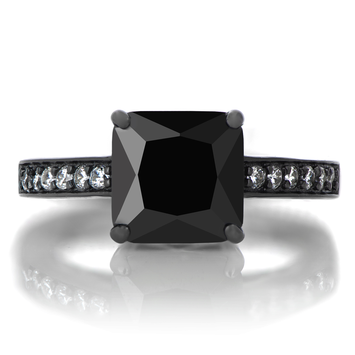 trista s 4ct princess cut cz black rhodium plated