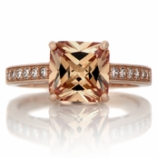 Trista's 4ct Rose Gold Tone Princess Cut Champagne CZ Engagement Ring