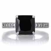 Trista's 4ct Sterling Silver Princess Cut Black CZ Engagement Ring