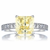 Trista's Promise Ring - Canary Princess Cut CZ