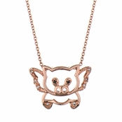 Trudy's Flying Pig Necklace - Rose Goldtone