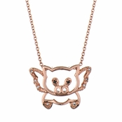 Trudy's Flying Pig Necklace - Rose Gold Hued