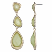 Twila's Triple Drop Fashion Earrings - Lime Green Stone