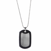 Hank's Black and Silver Dog Tag Necklace - 24 inches