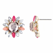 Tyra's Pink Rhinestone Flower Stud Earrings