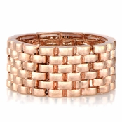 Tyra's Rose Goldtone Wide Link Stretch Bracelet