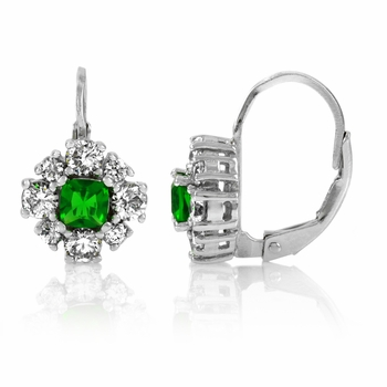 Una's Leverback Flower Earrings - Green CZ