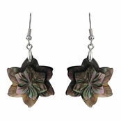 Valena's Abalone Shell Grey Flower Dangle Earring