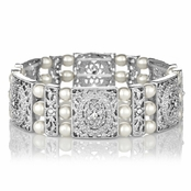 Valencia's Imitation Pearl and CZ Bridal Stretch Bracelet