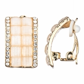 Valentina's White and Gold Half Hoop Clip On Earrings