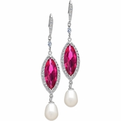 Valkyrie's Imitation Pearl & Simulated Ruby Drop CZ Earrings